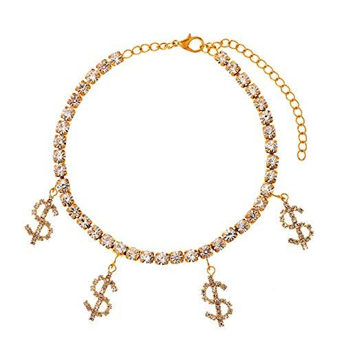 WEIYYY 2021 Tobilleras de Mariposa de Cristal para Mujer, Pulsera de Tobillo con Cadena de Diamantes de imitación, joyería Femenina descalza en la Playa, 004701GD