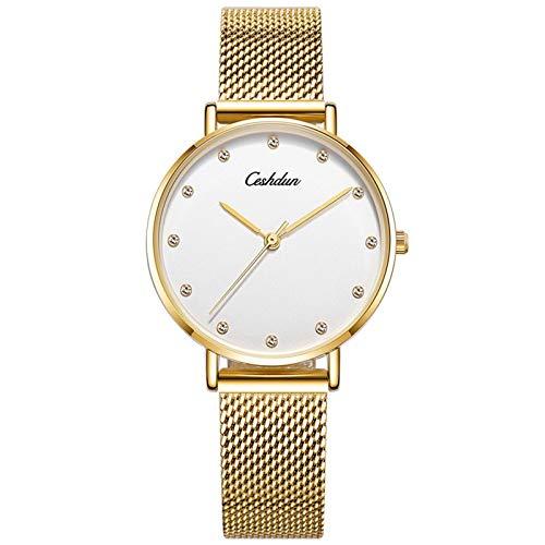 N-B Ceshdun/Heiston Reloj de cuarzo impermeable para señoras moda tendencia reloj