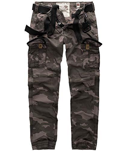 Surplus Herren Vintage Straight Fit Cargohose Premium Slimmy (L, camouflage schwarz)