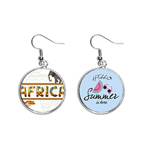 Ohrringe mit Afrika-Karte, Elefant, afrikanische Savanne, Sommer-Wassermelone