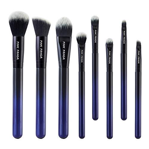 PINKPANDA Makeup Brushes 8 Pcs Noble Blue Professional Makeup Brush Set Premium Cosmetic Brushes Foundation Blending Blush Concealers Eye Shadows Face Powder Kabuki Make Up Brushes Kit