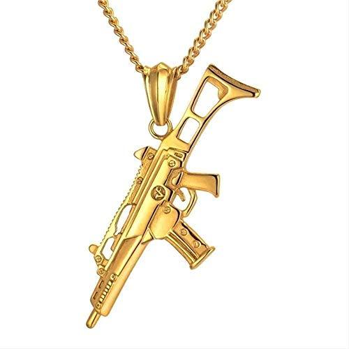 ZGYFJCH Co.,ltd Collar Mujer Collar Hip Hop Collar Hombres Joyas Collar Colgante Masculino con Cadena de Acero Inoxidable de Color Dorado Collar Militar Regalo para Mujeres Hombres Regalo