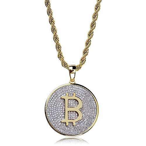 JINSHIYINYU Hip-Hop CZ Kunstdiamant 14 K vergoldet Bitcoin Symbol Anhänger Halskette 61 cm Kordelkette
