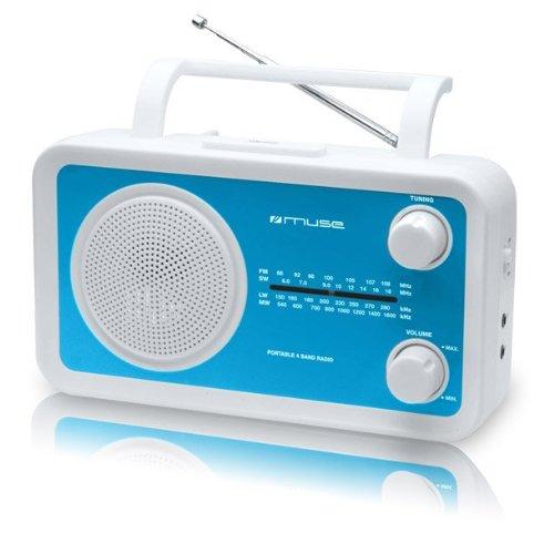 Muse M-05 - Radio portátil con sintonizador analógico (FM/MW/LW/SW, para enchufe o a pilas), color rojo (importado)