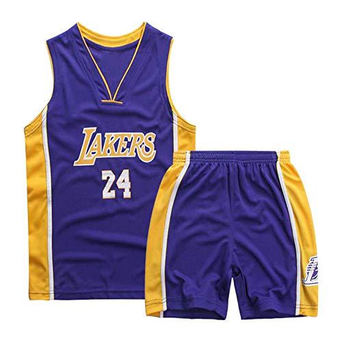 Mimiga Tuta Sportiva per Divisa da Basket No. 24 Kobe Bryant Ricamata da Basket per Bambini (XS, Blu)