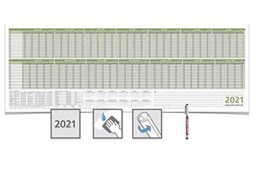 Personalplaner/Urlaubsplaner 2021, feucht abwischbar 118,8 x 42,0cm für 16 Mitarbeiter grün mit 1 E non-permanent Marker