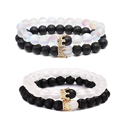 XNFIVE 4 Stück Paar Armband Kronen König und Königin Naturstein Kristall Mondstein Partnerarmband Freundschaftsarmband Elastische Perlen Armband Armreif Armkette für Herren Damen Schmuck Geschenk