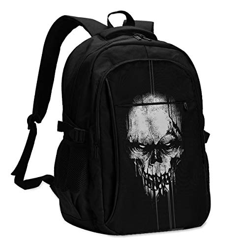 High Capacity Travel Laptop Water Resistant Anti-Theft Backpacks with USB Charging Port and Lock for Men Women College School Student Casual Hiking W/Print Horror Skull Pattern