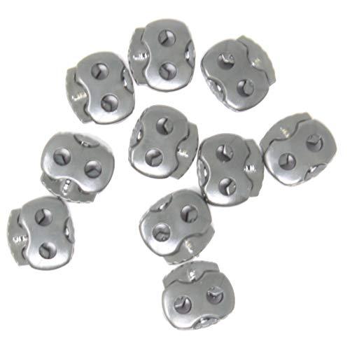 10 Stück - 2-Loch Kordelstopper - 4mm Lochdurchzug - 15x15mm - Gehäuse aus Kunststoff (Oliv (Dunkel))