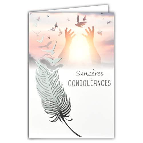 Afie 64-1064 Carte Sincères Condoléances Gris Argenté Brillant Décès Deuil Plume Envol Oiseaux Paix Mains vers le ciel soleil espérance Fabriqué en France, 64-1064