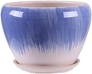 Kotee Färgblomkruka med fack grön pepparrot växt Stand Keramik krukor för Outdoor Indoor (Färg : B, Size : S)