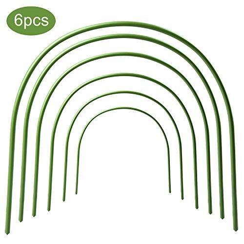 6 x Gewächshaus-Rolle, rostfreier Wachstunnel, kunststoffbeschichtete Tunnel-Rolle, Stützringe für Gartenstecker, Stoff, Pflanzenstütze, Gartenstecker