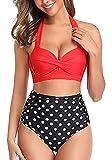 Mujer Conjuntos de Bikini Cintura Alta Conjunto de Bikini de Dos Piezas con Pliegues Halter Push Up Arriba Trajes de baño Retro Ropa de Playa