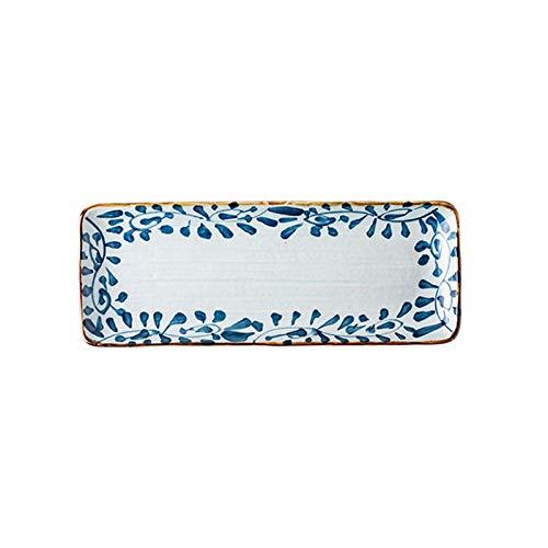 Juego Vajilla Creativo pintado a mano rectángulo placa de cerámica placa de filete placa de alimentos occidental placa de sushi placa de pescado placa de cena plato hondo de cerámica ( Color : B )