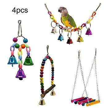 4 pcs/Ensemble Jouet De Cage De Perroquet Suspendu Balançoire Socle Suspendu Pont Cloche Corde Balançoire Oiseaux Jouets Cloche De Bois Coloré Perles, Petites Cages Perruche Accessoires Décoratifs