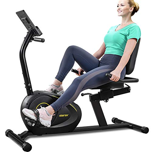 Merax Indoor Recumbent Exercise Bike Stationary Cycling Bike with Bluetooth, 8Level Magnetic Resistance, Adjustable Saddle (Yellow)