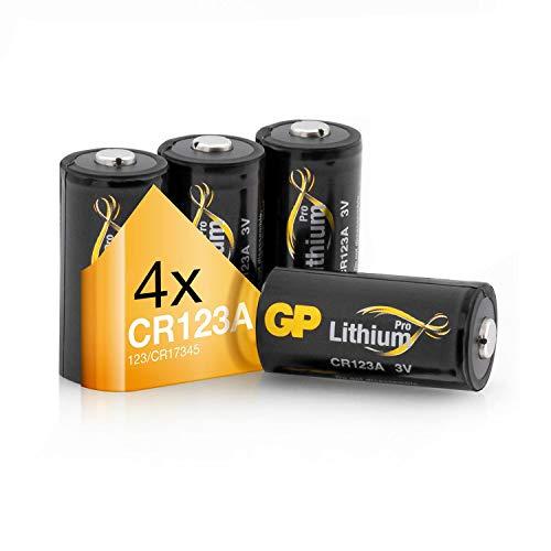 GP Batterien CR123A 3V Lithium Pro Schwarz-Gold (4 Stück CR123 Batterien 3 Volt) für Smart Home, Alarmanlagen, Taschenlampen, Foto-Zubehör und vieles mehr