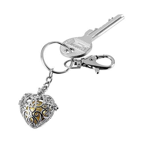 Schlüsselanhänger Engelsklang, Schlüsselanhänger mit goldfarbender Kugel und Klang, Kupfer, Anhänger: 2,5 x 3 cm, Ø 1,5 cm, Gesamt: 11 x3 cm, silber