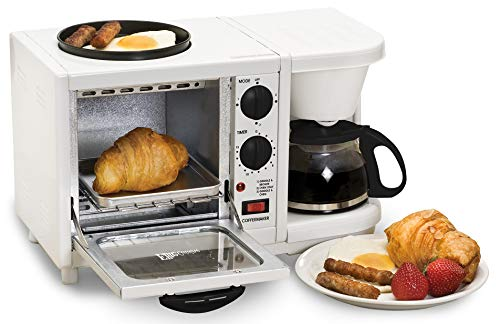 Americana 3-in-1 Breakfast Station Toaster Oven with Timer, Medium, White