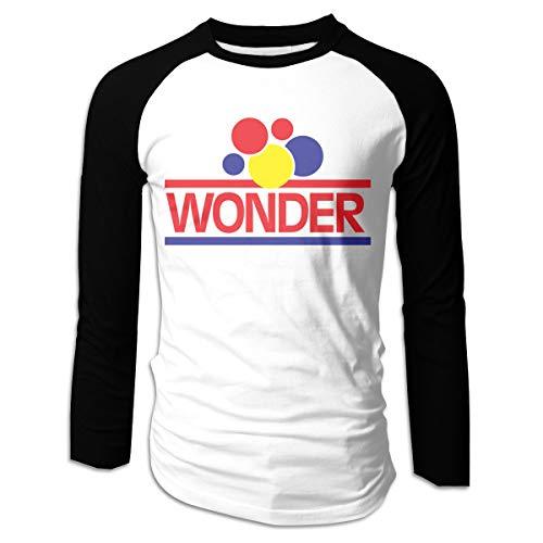 Yearzimn Men's Ultra Soft Wonder Bread Logo Long Sleeve Raglan T-Shirt L Black