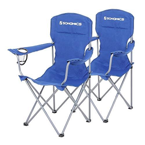SONGMICS Campingstuhl, 2er-Set, klappbar, komfortabel, Klappstuhl mit robustem Gestell, bis 150 kg belastbar, mit Flaschenhalter, Outdoor Stuhl, blau GCB08BU, XL