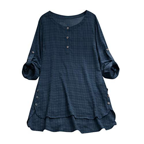 HLIYY Femmes T-Shirt en Coton Et Lin à Manches Longues Tee Tops Décontracté Tunique Coton Lin Cafetière Grande Taille Chemise Shirt Boutons Chic ete Palge