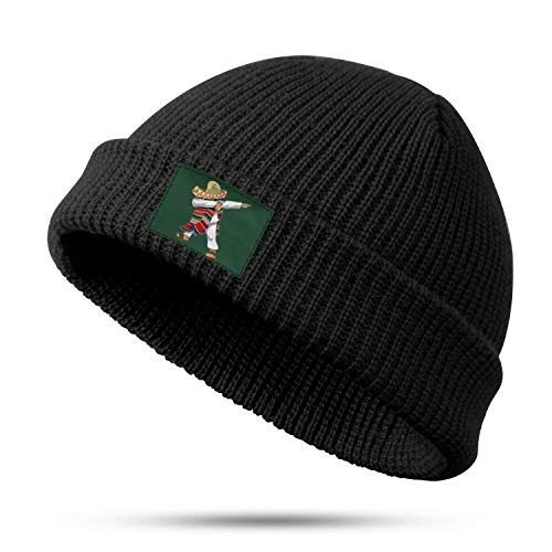 Mexican-Flag-Poncho-Dabbing-Cinco-Cool Knitted Beanie Mexican-Flag-Poncho-Dabbing-Cinco-WarmMexican-Flag-Poncho-Dabbing-Cinco-melon Leather Hat Headwear for Mexican-Flag-Poncho-Dabbing-Cinco-Men/Women