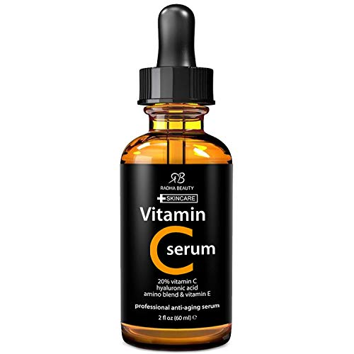 Radha Beauty Natural Vitamin C Serum for Face, HUGE 2oz - 20% Organic Vitamin C + Vitamin E + Hyaluronic Acid, Facial Serum for Anti-Aging, Wrinkles, and Fine Lines