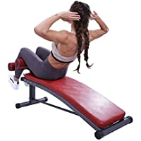 Finer Form Gym-Quality Sit Up Bench with Reverse Crunch Handle for Ab Exercises (Red)