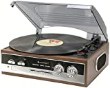 Soundmaster PL186H - Reproductor de vinilos (AM/FM, estéreo, 33/45/78 rpm), color marrón