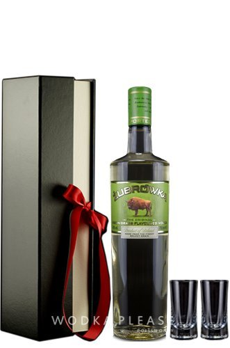 Geschenkidee Żubrówka Bison Grass Vodka in Geschenkverpackung + 2 hochwertige Schnapsgläser