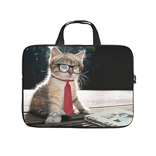 Cute Cat with Glasses Reading Book Laptop Bag Waterproof Protective Case for Laptops Customised Notebook Bag for University Work Business
