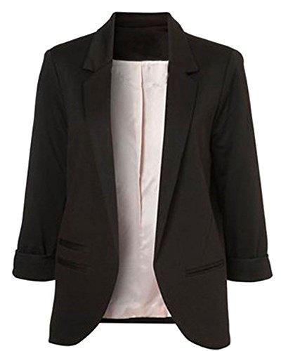 POGT Black Blazer for Women,Office Casual Blazer Jacket Open Front Cardigan (M, Black)