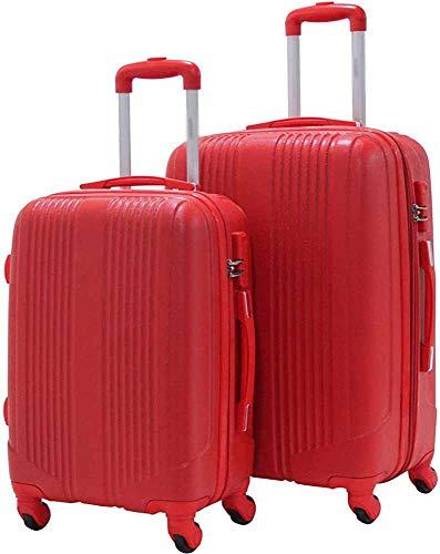 Conjunto de 2 mango telescópico de maleta mediana y cabina Dos cajas de almacenamiento interno grandes,Red