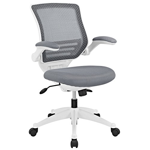 Modway Edge Mesh Office Chair with White Base and Flip-Up Arms in Gray - Perfect For Computer Desks