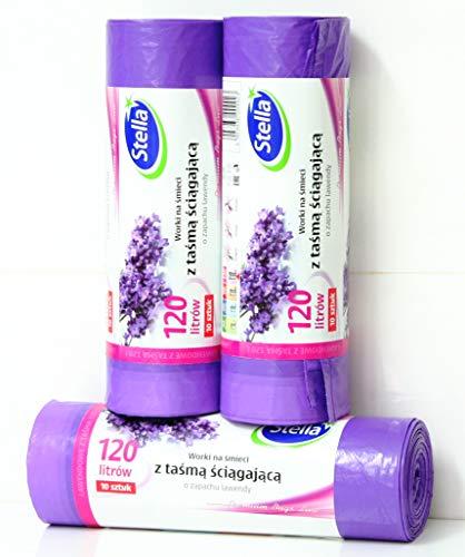 Stella 30 Duft-Müllbeutel Lavendel mit Zugband, 120 Liter, 3 Rollen mit 10 Beuteln/Müllsäcke 120 Liter, Lavendel duftend/Super starker Lavendelduft Premium Bags Line