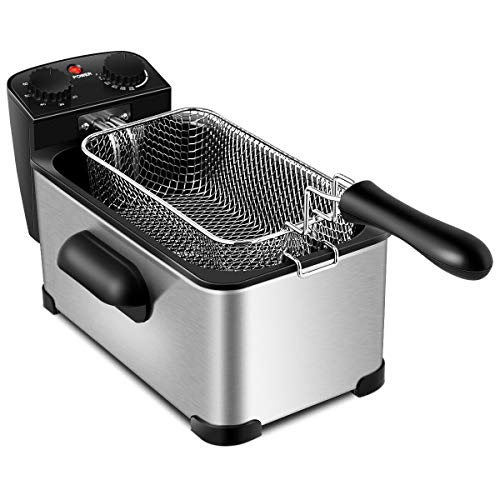Cypress Shop Electric Deep Fryer Countertop Commercial Use 3.2 Quart Deep Frying Stainless Steel Single Tank Cooking Utensil Cookware with Timer Catering Fast Food Stands Snack Bars Restaurant