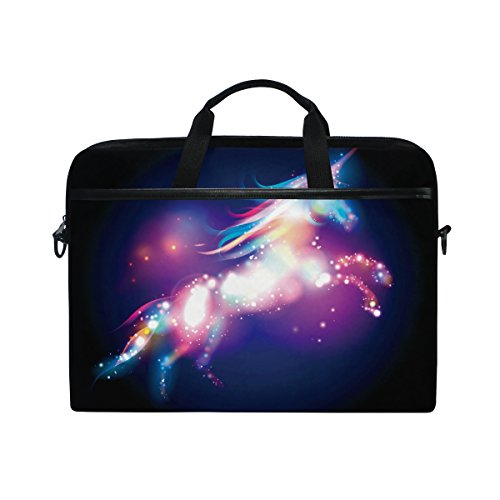 Laptop Case, Unicorn Stars Printed with 3 Compartment Shoulder Strap Handle Canvas Notebook Computer Bag Personalised Perfect for Boys Girls Women Men 13 13.3 14 15 inch