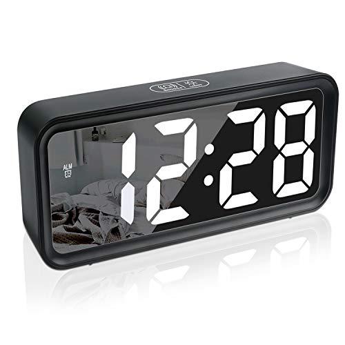 Wecker,Digitaluhr,Digital Wecker Uhr Mit Großer LCD Display Datum Und Temperatur Anzeige Mit Snooze Und Nachtlicht Funktion Für Kinder, Für Zuhause, Schlafzimmer, Badezimmeruhr Und Büro (Schwarz)
