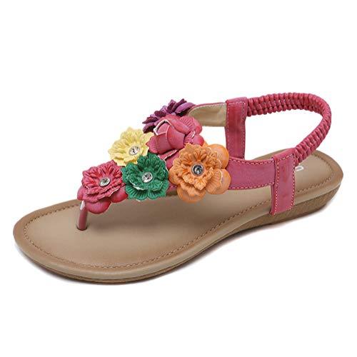 Minetom Damen Sandals Frauen Sandalen Sommer Bohemian Strass Blumen Flach Sandaletten PU Leder Zehentrenner Boho T-Strap Clip Toe Flip Flops C Rosa 36 EU