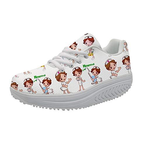 Showudesigns Enfermero Zapatillas con Cordones y tacón de cuña para Mujere Plataforma de Cuña Gimnasio Zapatos Sacudir Casual Zapatos Mujer Adelgazar Height-Increasing Sneaker 40 EU