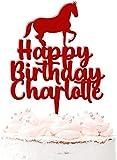 Adorno para tarta de cumpleaños con nombre personalizado, 20 colores, color rojo oscuro