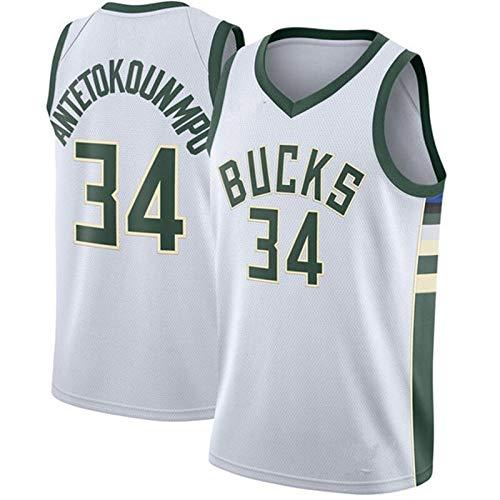 ZSPSHOP NBA Milwaukee Bucks De Baloncesto AntetokounmpoNo.34 Camiseta Deportiva De Algodón Uniforme De Baloncesto Camiseta Bordada (Color : White 34a, Size : XXL)