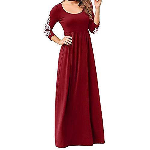 iLUGU Women Solid Applique Three Quarter Sleeve High Waist Boho Long Maxi Dresses