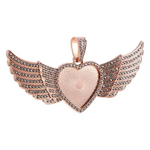 WINOMO Colgante Charms Collar Rhinestone Corazón Joyería Accesorios Pulsera 1pc Oro Rosa