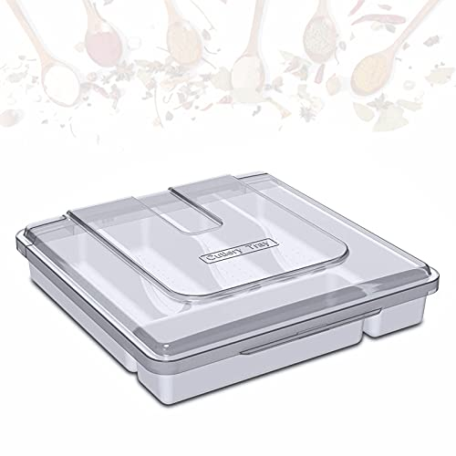 EnweLampi Cutlery Tray with Lid for Knife/Spoon/Fork Organiser, Plastic Kitchen Storage Box, 5 Compartment Storage Bin,White