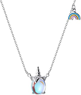 Necklaces for Women Stainless Steel Jewelry Choker Necklace Fashion Minimalist Jewelry RainbowPendant SilverLong Chain w...
