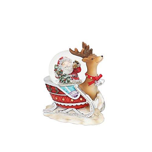 Dekohelden24 Kleine Schneekugel, Rentierschlitten mit Weihnachtsmann, L/B/H 9 x 4,5 x 8 cm Kugel Ø 4,5 cm.