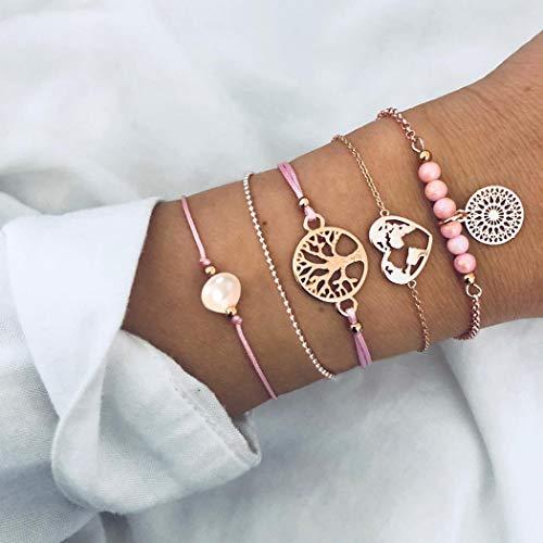 Yean Boho Layered Bracelets Tree Bracelet Gold Beading Hand Chain Heart Adjustable Accessory Jewelry for Women and Girls 5Pcs