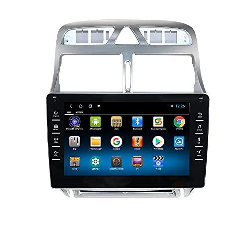 Autoradio para Peugeot 307 307CC 307SW 2006-2013 GPS Navi para Peugeot 307 Android Radio Bluetooth Manos Libres Control del Volante WiFi 4G USB Enlace Espejo Dab+ Entrada de Vista Trasera Negro